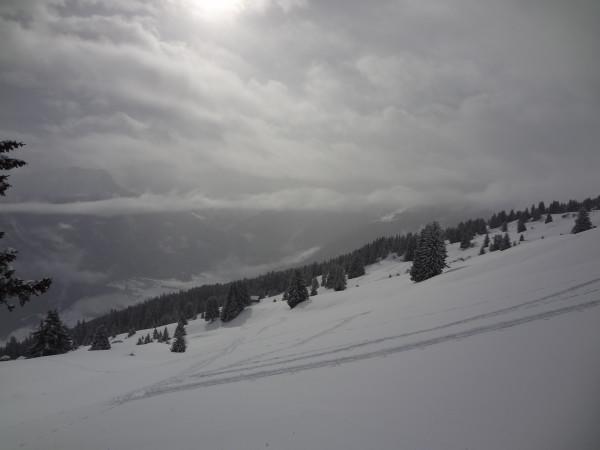 Eine klassische Wetterlage: Neuschnee in der Nacht und am Morgen, durchdrückende Sonne aus dem Süden am Nachmittag